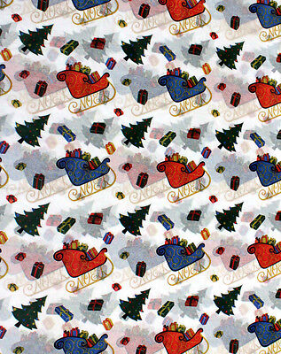 Winter Coloring Sheet (Colorful Santa SLEIGH Tissue Paper ~ Christmas / Winter # 761 ~ 10 Large)