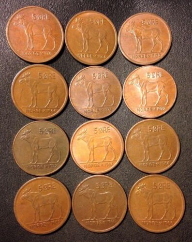 Vintage Norway Coin Lot - 5 Ore - MOOSE SERIES - 12 Great Coins - FREE SHIPPING