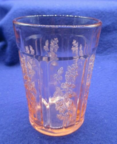 "Sharon Cabbage Rose Pink 4 1/8"" Thick Flat Tumbler PERFECT"