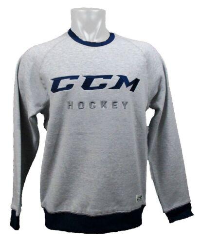 CCM Hockey AUTHENTICITY  FLEECE CREW Adult/Senior Sweatshirt-ATHLETIC GREY/BLUE