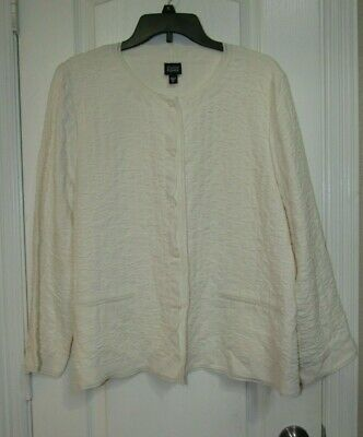 Eileen Fisher Cream Silk Asian Inspired Blazer/Jacket Sz.XL