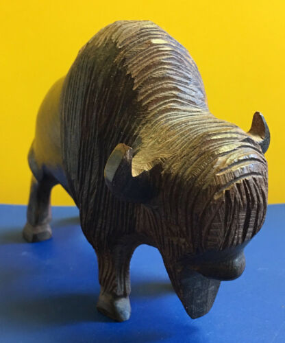 Vtg Ironwood Wood Bison/Buffalo Wooden Statue/Figurine
