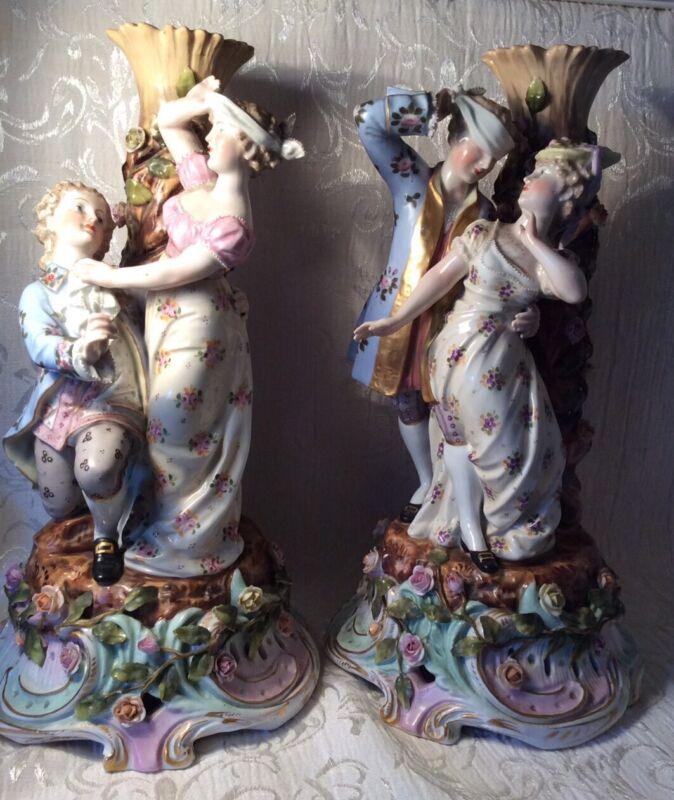 Pair Of Antique Meissen Porcelain Candlesticks 19th Century