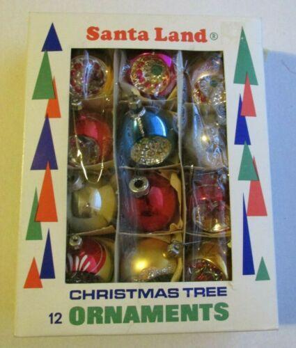 Vintage Santa Land Hand Blown Christmas Tree Ornaments Indents Shiny Brite