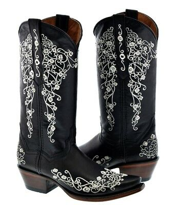 Womens Cowboy Boots Black Fancy Embroidered Rhinestones Cowgirl Wedding (Fancy Cowgirl Boots Rhinestones)