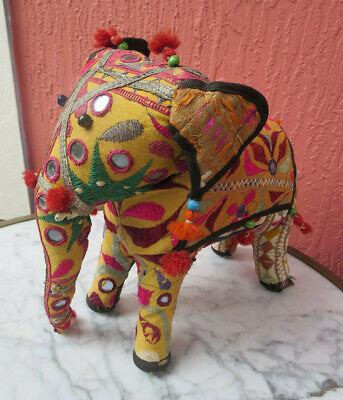 Old Vintage Handmade Elephant Figurine Embroidery Mirrors Artisan India  ()