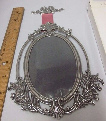 """Fine Pewter Frame Pink Ribbon Flowers Art Nouveau Oval Canada Signed 3.5 x 5"""""""