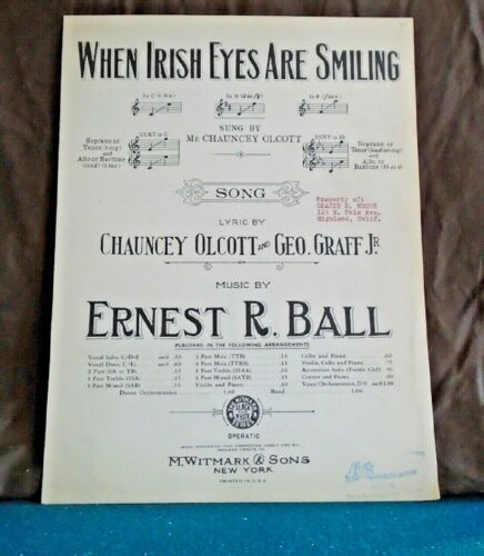 VINTAGE SHEET MUSIC - WHEN IRISH EYES ARE SMILING by ERNEST R. BALL  ©1912