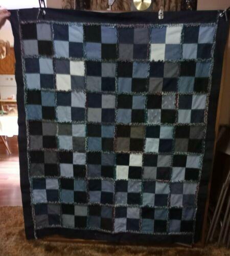 """Denim Rag Quilt Flannel on back 100% cotton 55"""" x 65"""""""