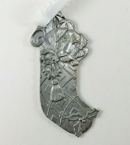 STOCKING WITH DOG - Kirk Stieff Pewter Ornament - Mint