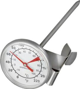Andrew James Milk Thermometer for Frothing Jug & Perfect Coffees - Inc. Clip
