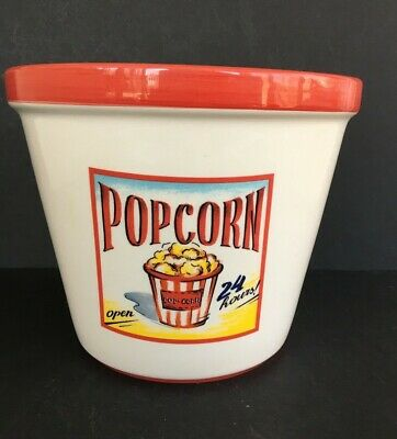 Ceramic Popcorn Bowl (LARGE Hand Painted Ceramic Popcorn SERVING BOWL_Tabletops Gallery_24/7)
