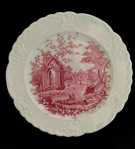Vintage English Abbey Transferware Pink Red Dinner Plate 9-1/4""