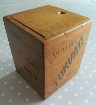 VINTAGE WOODEN TEA CADDY - THE TEA CADDY BOX ADVERTISING TUKVAR QUALITY TEAS