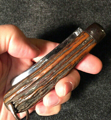 Large 1800s M. HUNTER * TALBOT WORKS (Sheffield) NICE STAG Vintage Folding Knife
