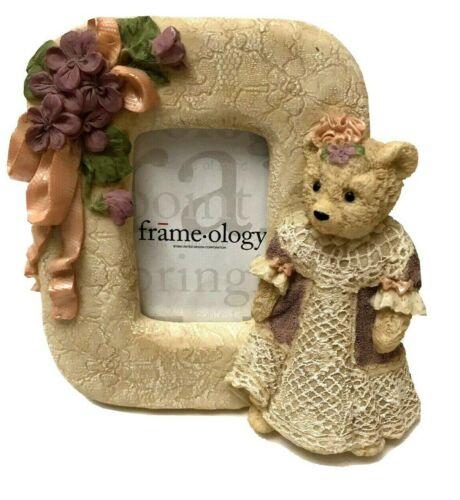 Frameology Teddy Bear with Bows Dress Baby Girl Nursery Decor Photo Frame