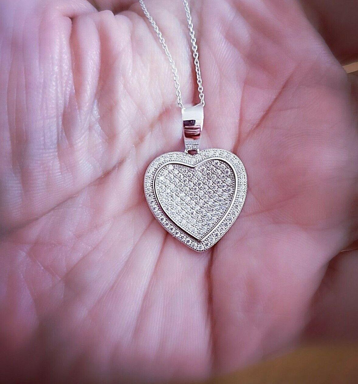 1 Ct Diamond pendant with Chain Woman's Heart Diamond Necklace 14K White Gold