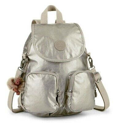 Kipling FIREFLY UP Small Backpack Covertible To Shoulder Bag - Metallic Pewter