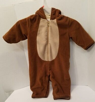 Gap baby Hooded Halloween Costume Monkey w/ tail & banana in back pocket 12-18mo