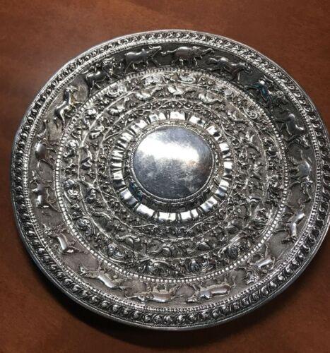 "Ornate Sterling Silver ANIMALS & BIRD Motif 7 1/2"" Round Tray Plate"