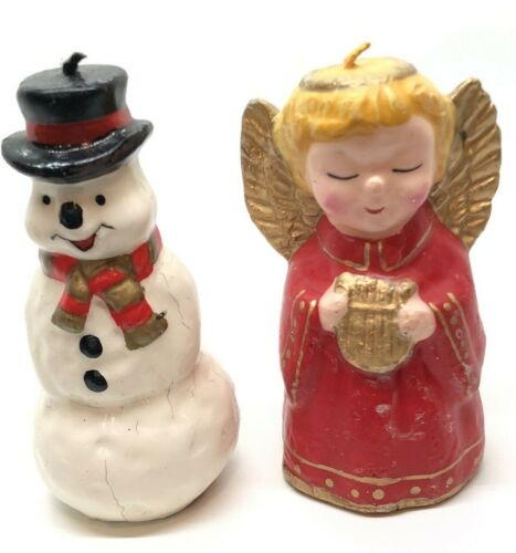 "2 Vintage Christmas Wax Candles Snowman Angel 4"" Mid Century"