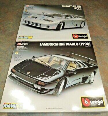 NEW Burago Bugatti EB 110 1/18 + Lamborghini Diablo 1990 Metal Model BBurago