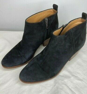 J.CREW Suede Sawyer Ankle Boots Booties Black C9868 Womens Size 7