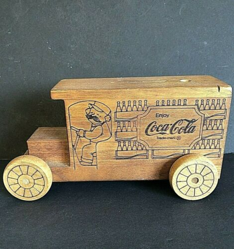 Rare 1980 Hand Crafted Wood Coca Cola Truck Bank & Pen Holder