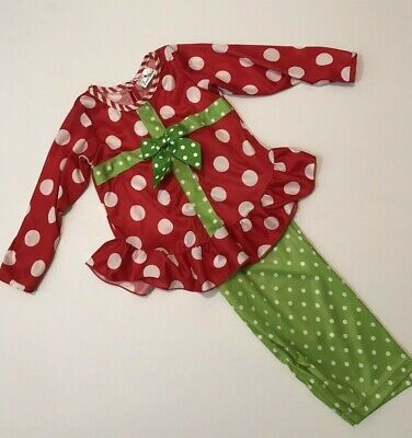 Girls 3T Boutique Laura Dare Silky Ruffle 2pc Christmas Pajamas Polka - Boutique Pajamas