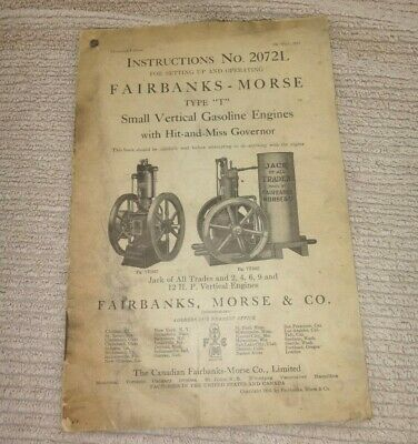 Original Owners Manual For Fairbanks Morse T Vertical Gas Hit Miss Engines 1914