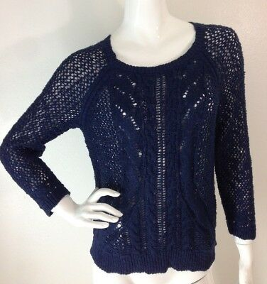 Back Cable Knit Top - New Women's M Blue Cable Knit 3/4 Sleeve Zipper Back Sweater Top Lucky Brand NWT