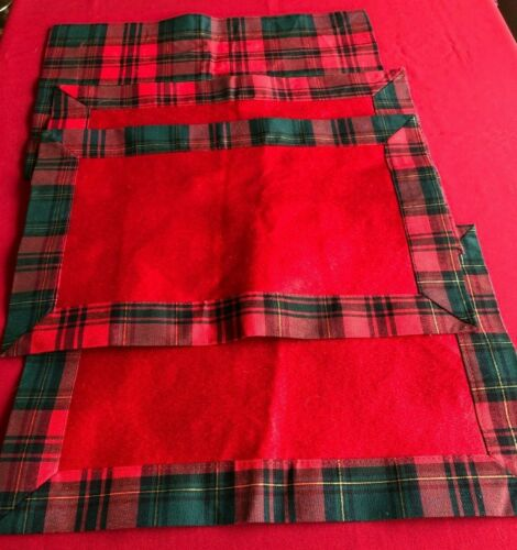 Holiday, Four-Piece Placemat Set, Reversible, Red and Plaid