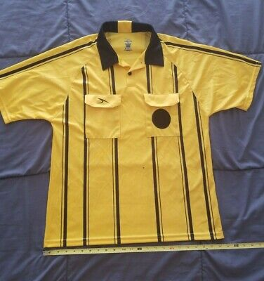 b2d344323 Score Am Soccer REFEREE JERSEY Shirt Yellow   Black Short Sleeve Size  M