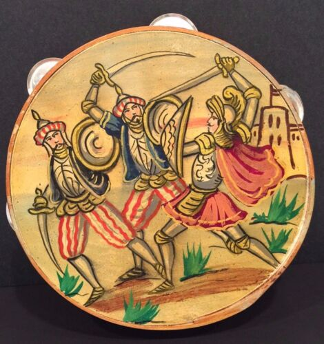 Vintage Handpainted Tambourine - Middle Ages Soldiers Swords Arms Medieval Armor