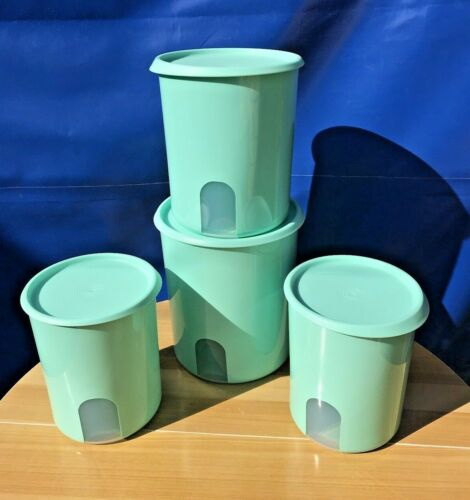 Tupperware  One Touch Remider Canisters Set Of 4  in Mint Color 18,13,8cup NEW
