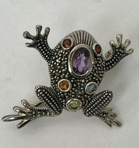 Vintage Sterling Silver Amethyst Marcasite Multi Stone Frog Brooch Pin NF