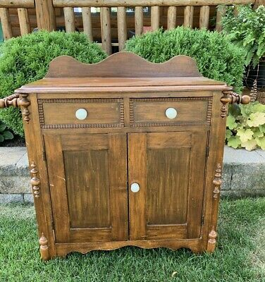 Antique Vintage Wood Wash Stand with Towel Bars