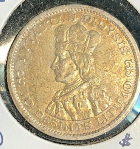 Lithuania 1936  10 Litu  KM 83