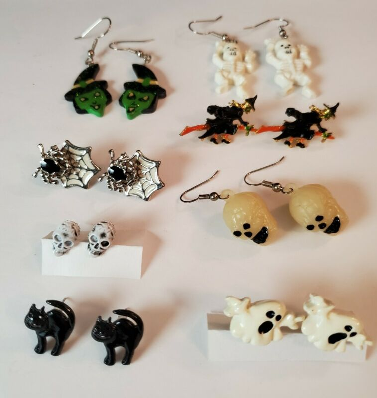 8 pairs Vintage Halloween Goth Gothic Earring Lot Skulls Witches Skeltons Ghost