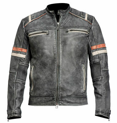 Men's Biker Vintage Style Cafe Racer Retro Distressed Leather Jacket /UK Seller