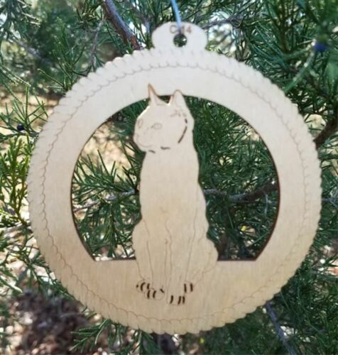 Short Haired Domestic Cat Wooden Ornament Christmas Cat Lover