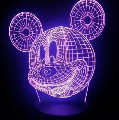 MICKEY MOUSE DISNEY 3D USB LED 7 Color Night Light Touch Table Lamp -