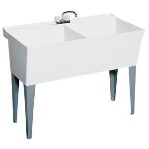 Swanstone Laundry Sink : Details about Swanstone MF-2F-010 Sink Double Laundry Tub White