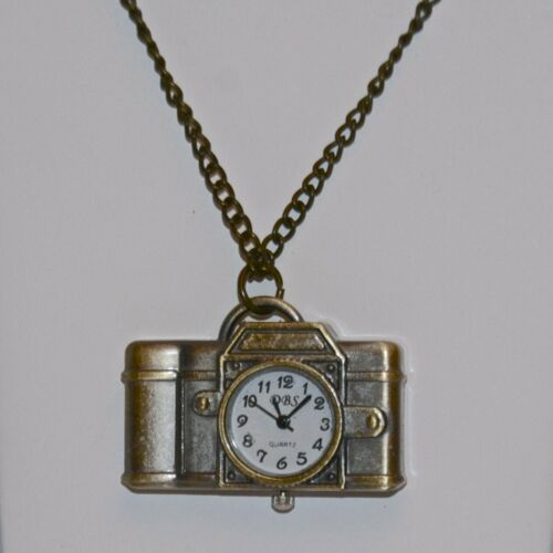New Vintage SLR Sub-Mini Camera Brass Pendant Watch With Brass Chain USA
