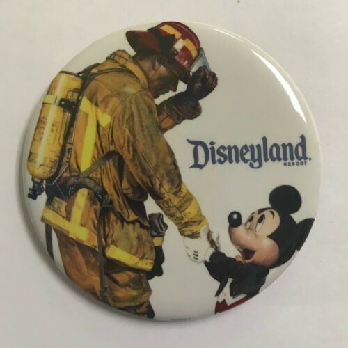 Disneyand Mickey Mouse Shaking Hands with Firefighter Fireman Disney Button New