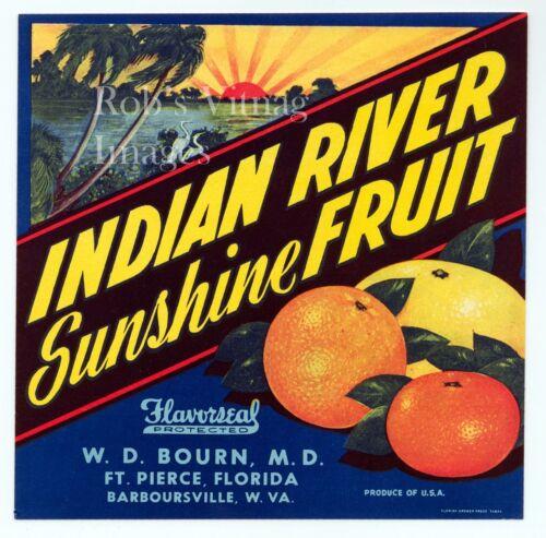 Fort Pierce, FL  Indian River Sunshine Fruit Crate Label Art Print