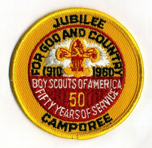 "1960 BSA 50th Anniversary - JUBILEE CAMPOREE - 3"" pocket patch - NEW MINT"