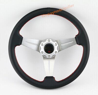 Universal SPOKE Genuine LEATHER 6 BOLT Racing Drifting STEERING WHEEL & HORN