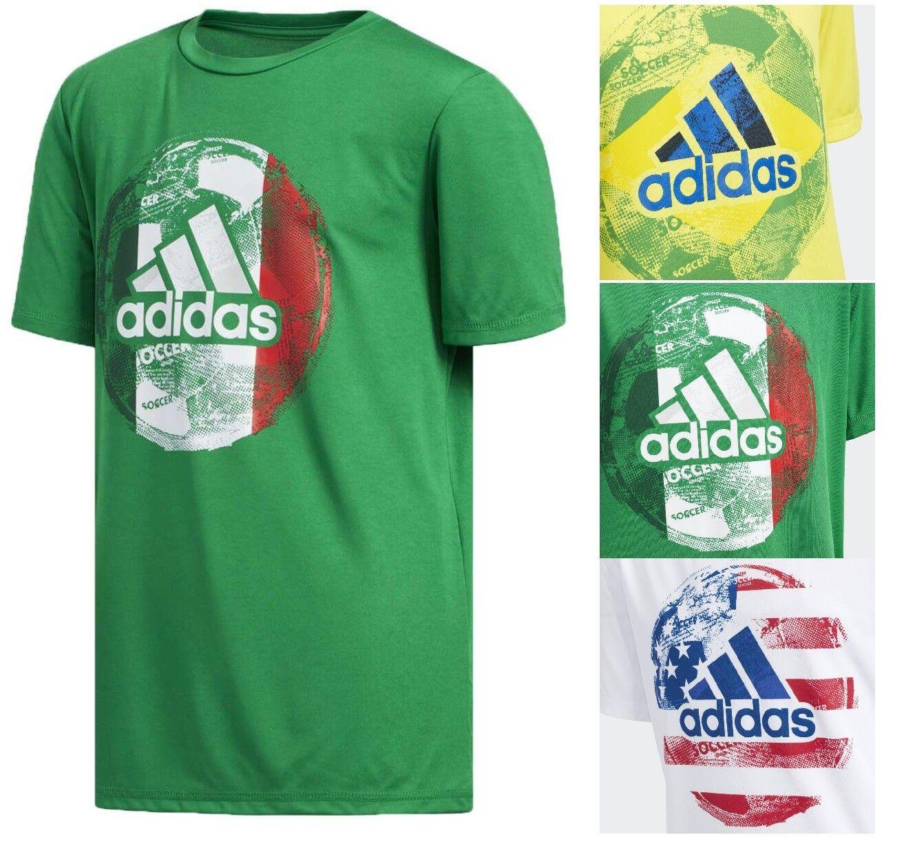 Adidas Boy's Kids NEW World Cup Soccer T-Shirt Crew Neck R