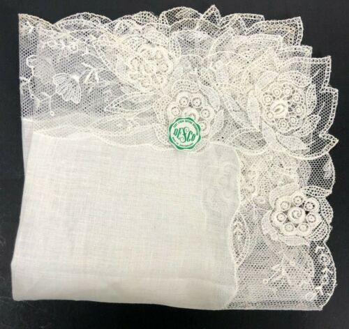 NOS Vintage Desco Bridal Lace Handkerchief Hanky Hankie Linen Never Used BEAUTY
